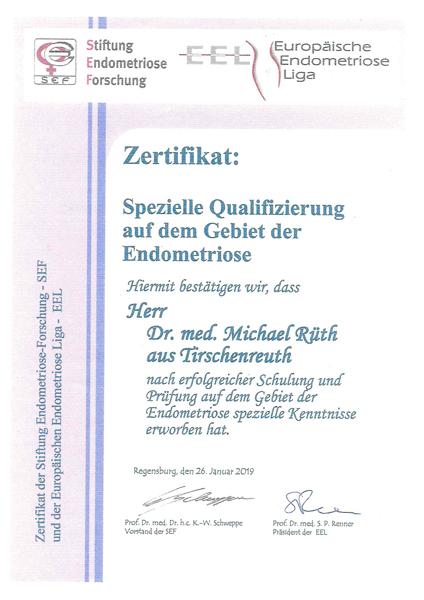 Zertifikat Endometrios Dr. Rüth